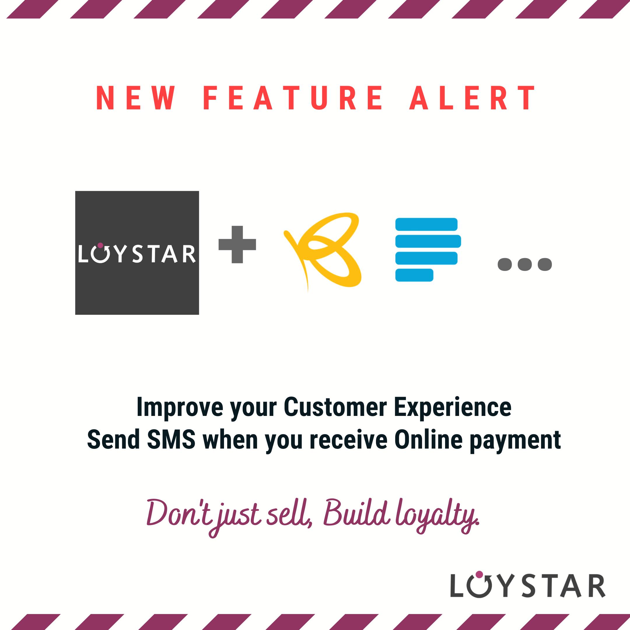 loystar sms notification -paystack-flutterwave-zapier
